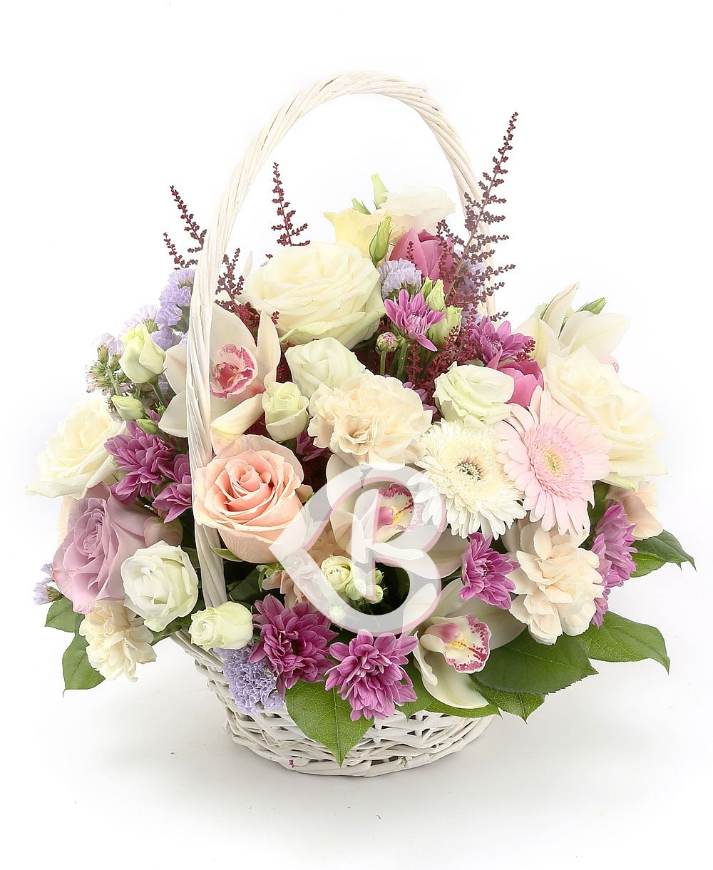 Sepet Aranjman orkide güller