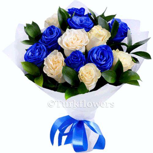 Mavi Beyaz 13 güller