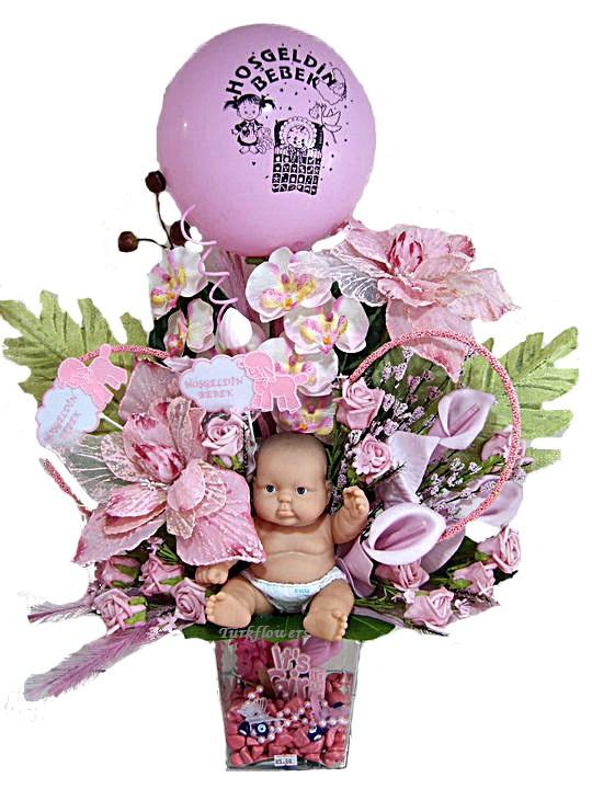 Yapay kız bebek doğum çiçeği