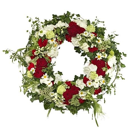 Kırmızı Beyaz Yuvarlak Cenaze Çiçeği
